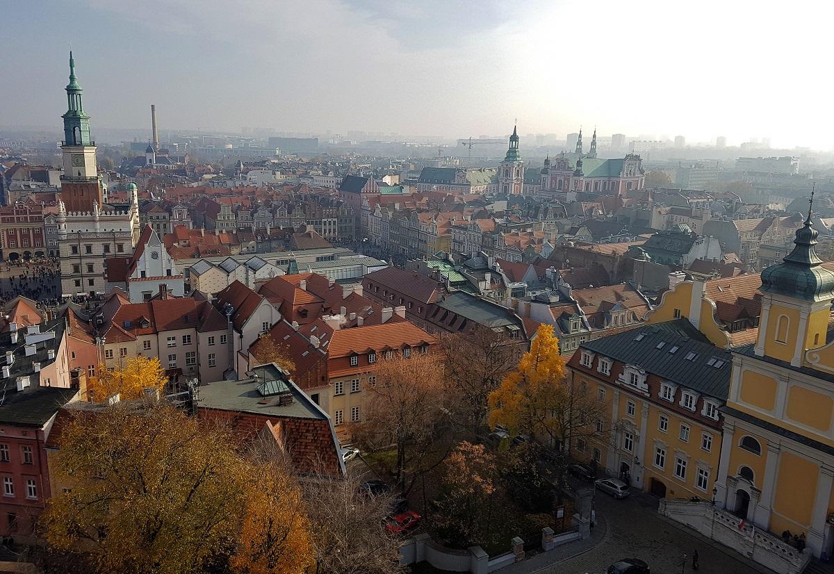 uitzicht vanaf de kasteeltoren in Poznan Polen